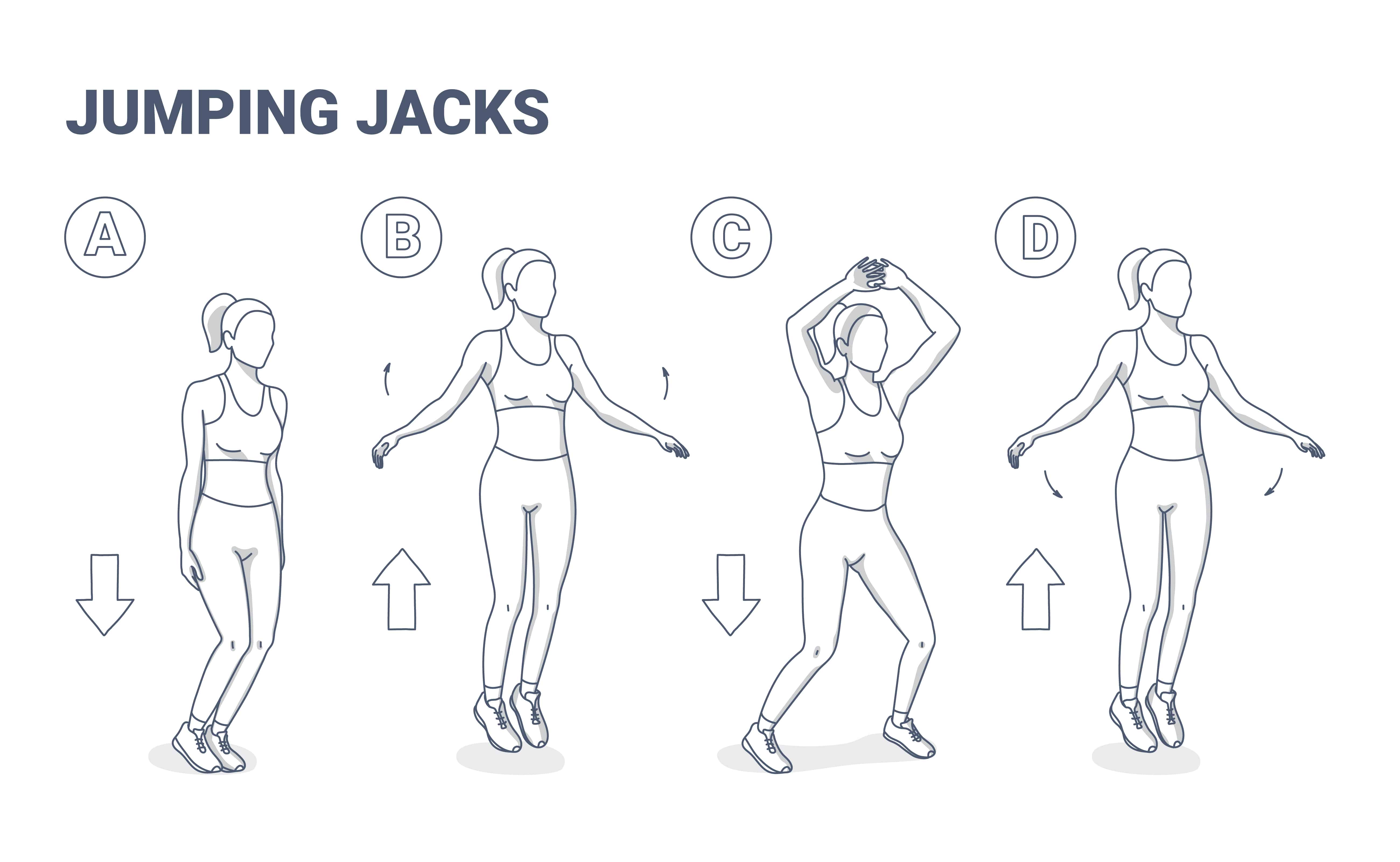 diagram of how to perform of jumping jack