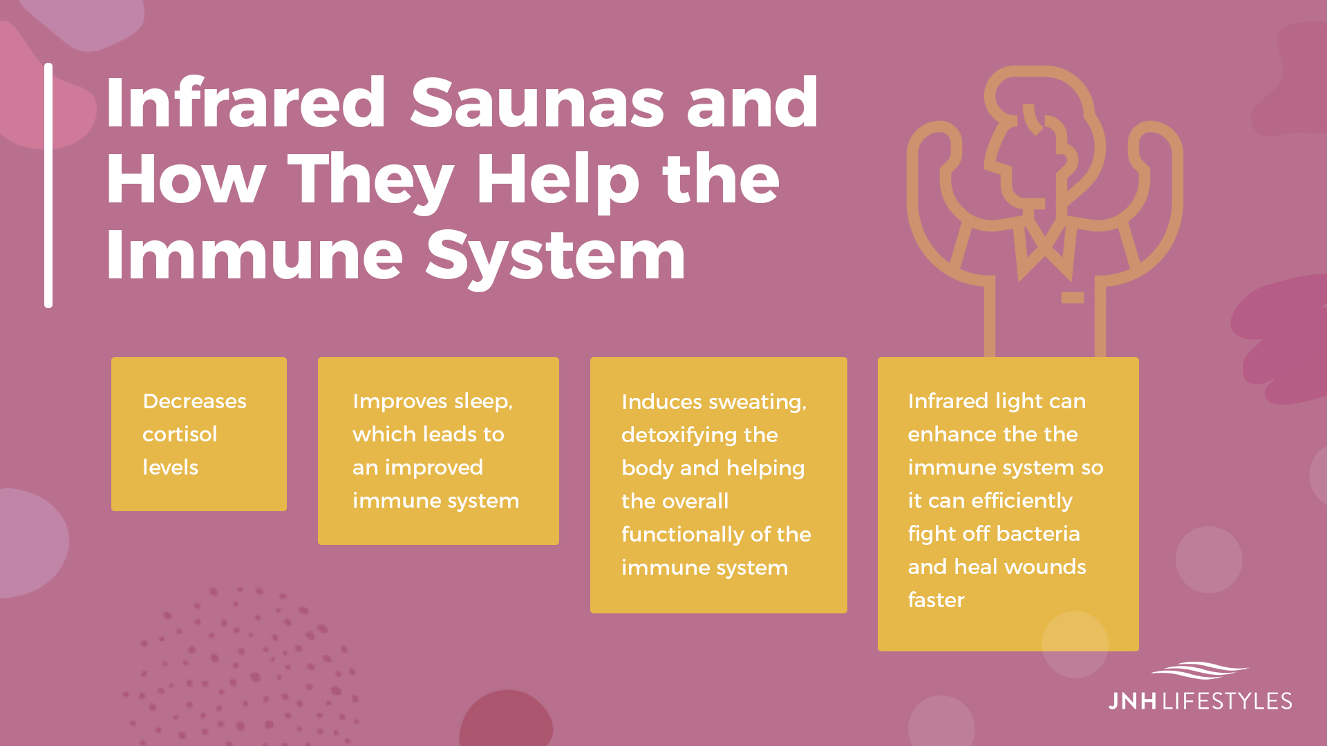 Infrared Saunas and How They Help the Immune System -Decreases cortisol levels -Improves sleep, which leads to an improved immune system -Induces sweating, detoxifying the body and helping the overall functionally of the immune system -Infrared light can enhance the the immune system so it can efficiently fight off bacteria and heal wounds faster